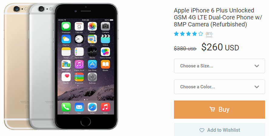 Refurbished iPhone 6 plus on Wish selling for $260