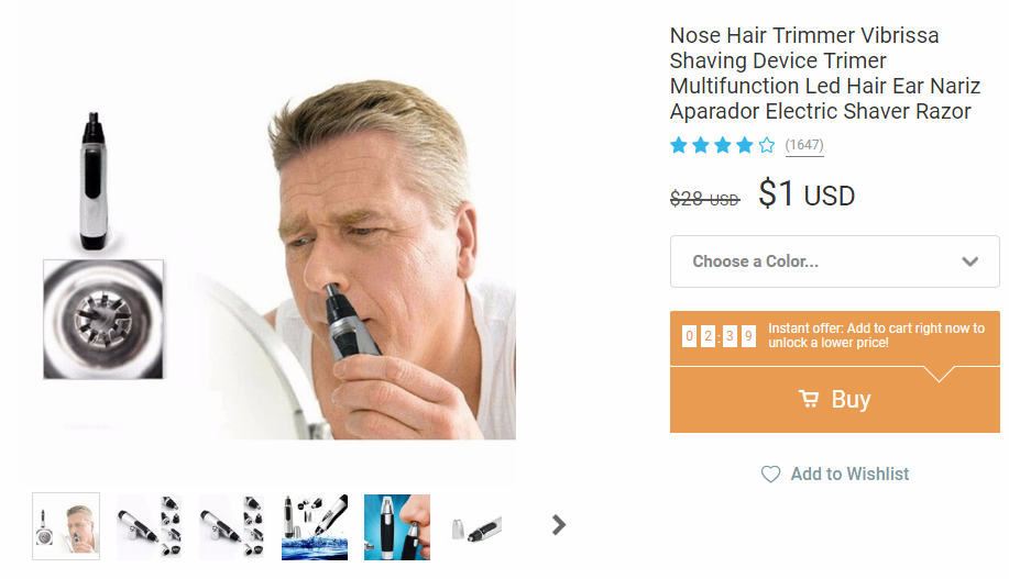 Nose hair trimmer on Wish with 4 stars selling for just $1 on Wish