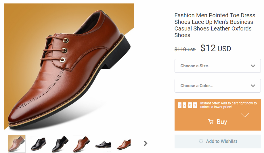 Oxford Shoes on Wish sell for $12