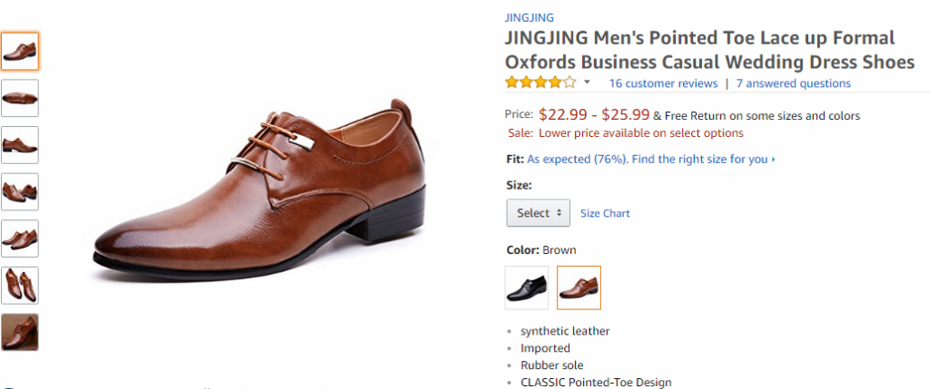 A similar looking set of brown oxford shoes on Amazon with 4 stars selling for $23