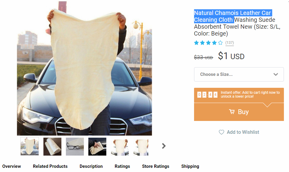 Chamois cloth rated four and a half stars going for $1 on Wish