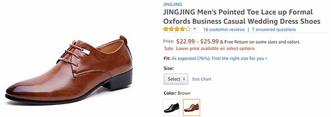 oxford shoes on amazon at $22 for comparison