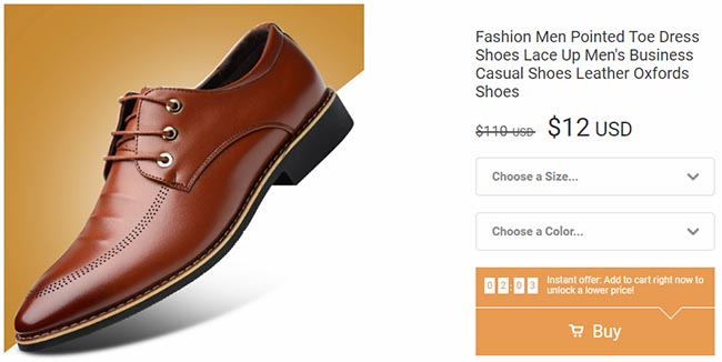 men's footwear on Wish for $12