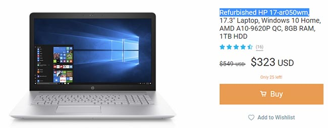 refurbished laptop for $323 on Wish