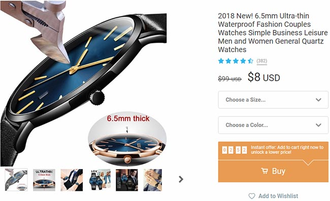 fashionable watch on wish for $8