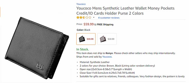 wallet on amazon at $59 for comparison to Wish
