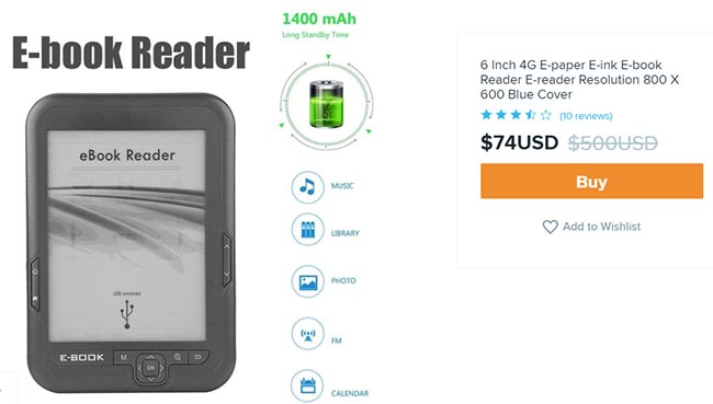 ebook reader for $74 on Wish