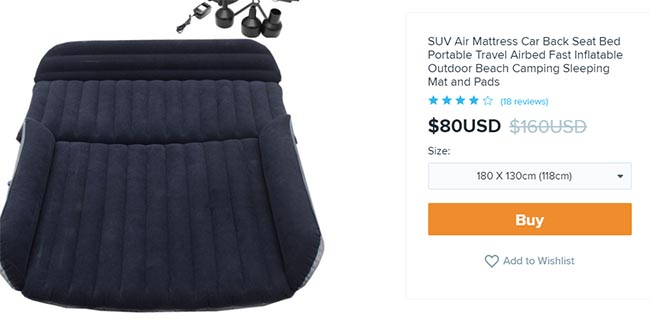 portable mattress on Wish for $80