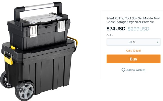 portable tool organizer on Wish for $74