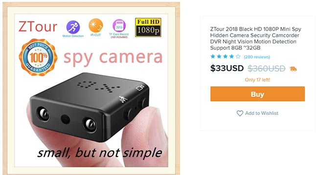 mini spy camera for $33 on wish