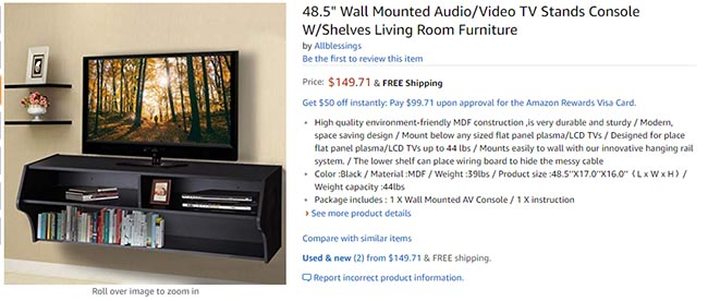 wall mounted tv console comparison