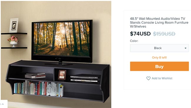 wall mounted tv console on Wish for $74