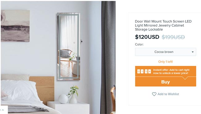 wall touch screen led mirror on Wish for $120