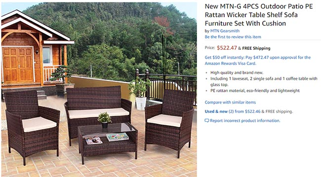 Outdoor furniture patio set more than $325 more on Amazon